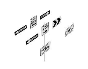Road Sign US R6 Series One Way And Divided Highway 3D