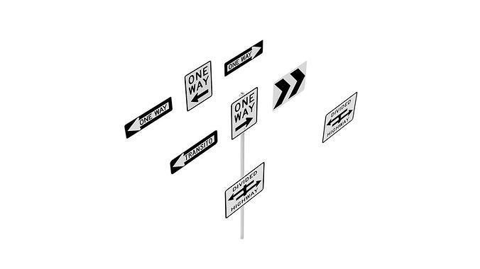 road sign us r6 series one way and divided highway 3d model obj mtl 3ds fbx dxf dwg skp 1