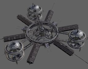 3D model Low Poly Space Station 3