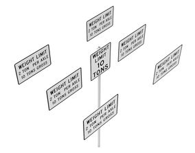 3D Road Sign - US - R12 Series Weight Limits