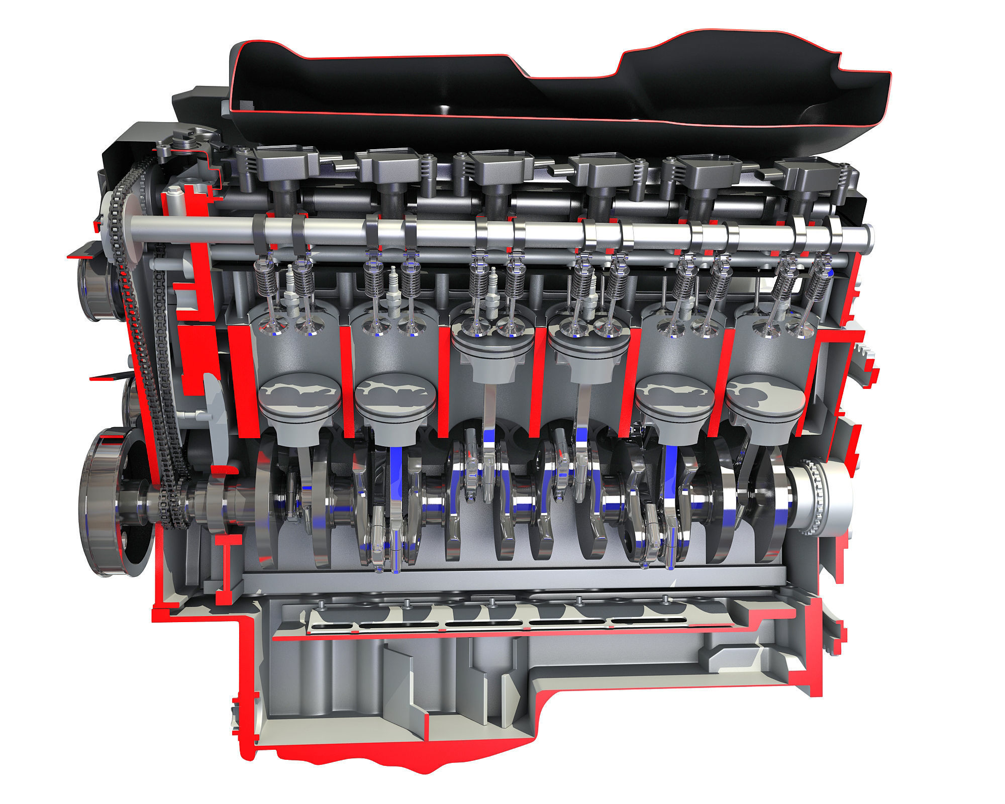 Animated Cutaway V12 Engine