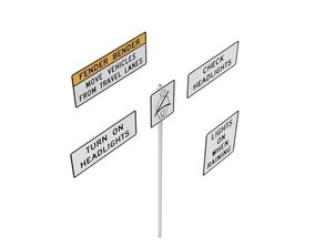 3D model Road Sign - US - R16 Series Seat Belts And 1