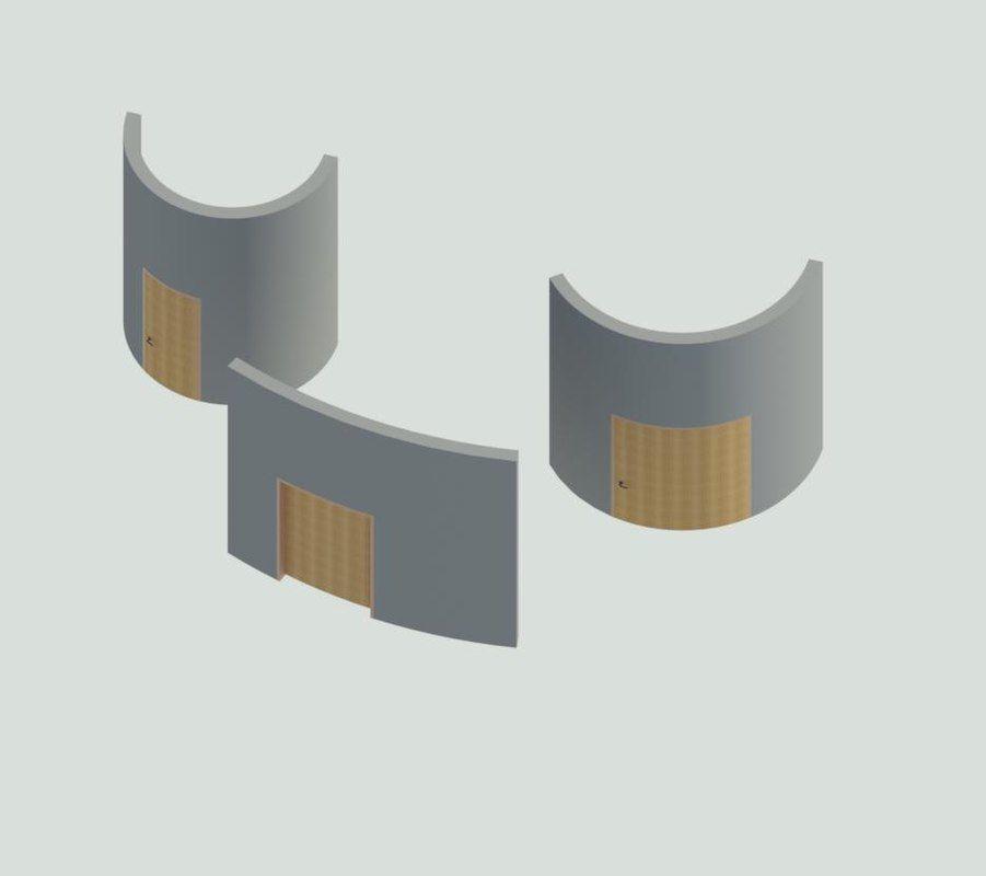 3D model Curved Door Revit Family Full Parameter | 3D model