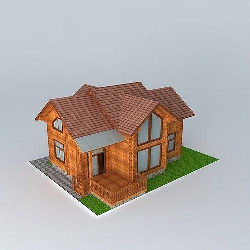 Wood House 3d Model Max Obj 3ds Fbx Stl Dae 1