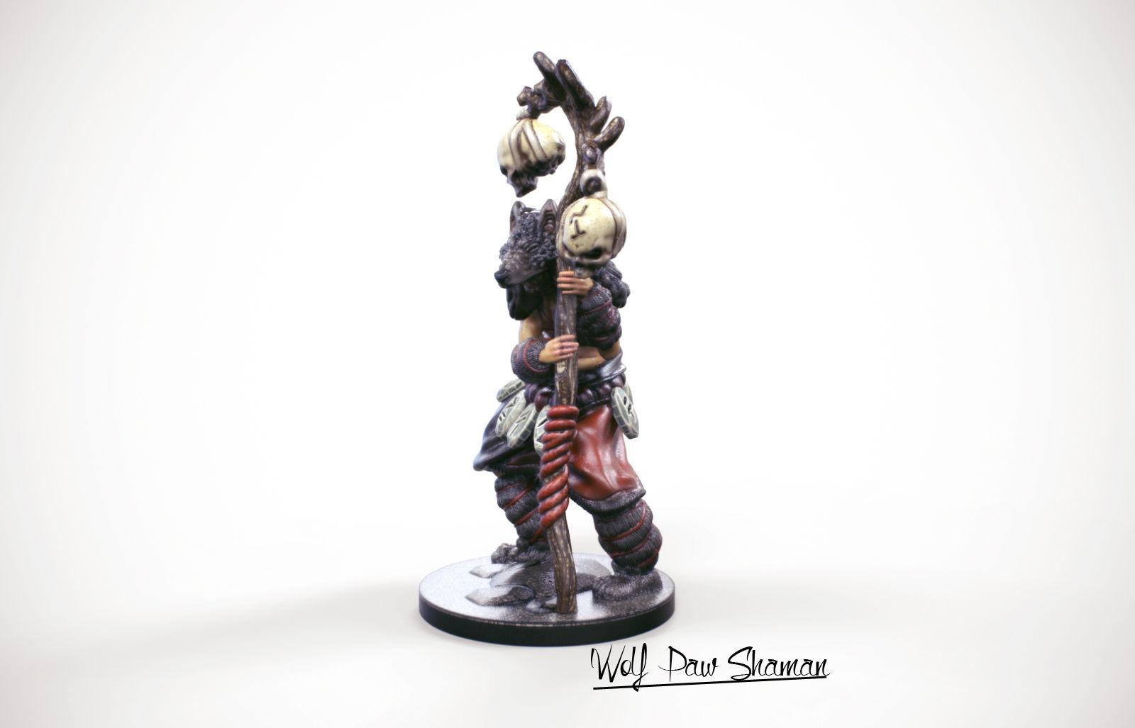 3d Printable miniature Wolf paw Shaman 32mm   3D Print Model