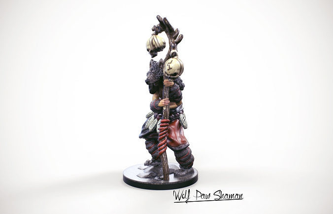 3d printable miniature wolf paw shaman 32mm 3d model stl 1