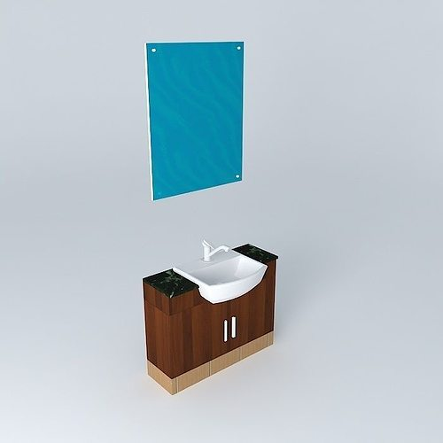 Single sink 3d model cgtrader for Sketchup bathroom sink