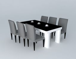 Dining Table set table-set 3D model
