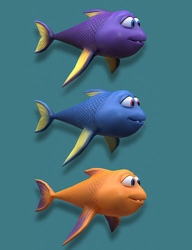 fish cartoon 3d model obj mtl fbx ma mb 1