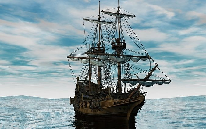 golden hind 3d model obj mtl 3ds fbx c4d abc 1