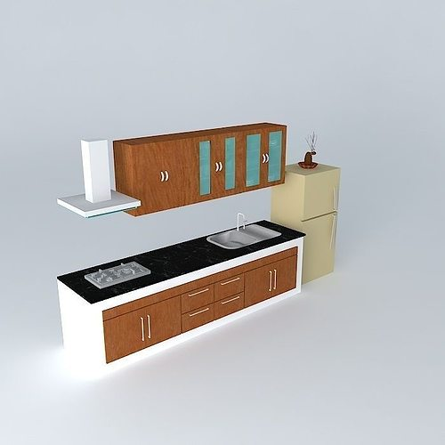 3d model kitchen interior architectural cgtrader for Model kitchen images