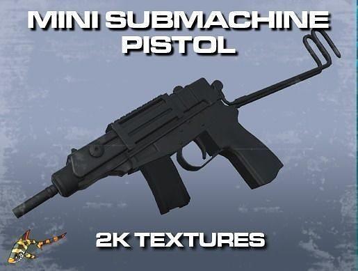 mini sub-machine pistol 3d model low-poly obj mtl fbx stl dae tga ply 1