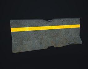Broken Concrete Barrier 3D model