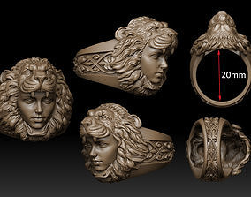 3D printable model jewelry gold lion ring