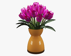 Realistic Potted Flower 006 3D asset
