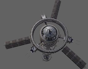 3D model Space Station 4 Low Poly