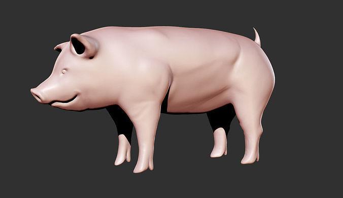 simple pig 3d model obj mtl stl 1