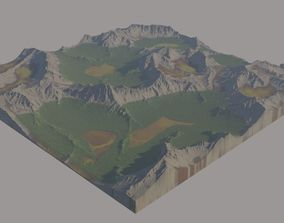 3D model Grassy Mountains and Hills moss landscape