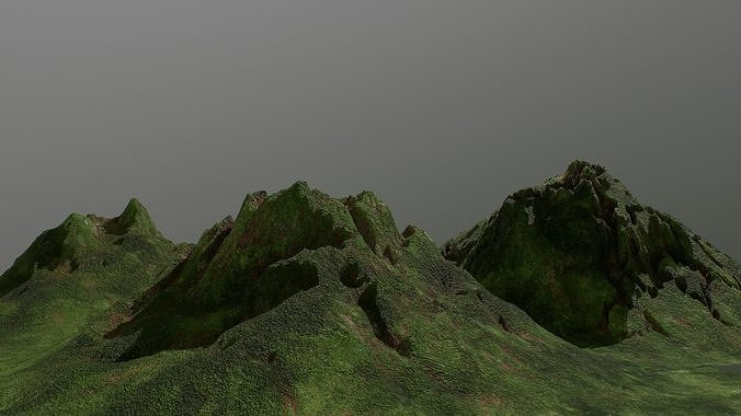 low poly green forest mountains environment assets pack 3d model low-poly obj mtl fbx 1