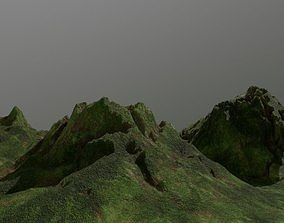 Low poly green forest mountains environment 3D model 1