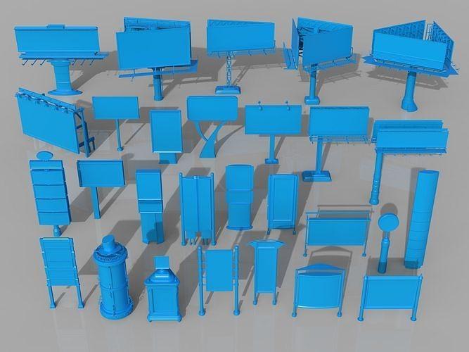 billboards - 28 pieces 3d model max obj mtl fbx stl 1