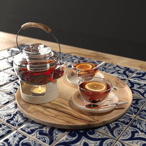 arabic tea set 3d model max obj mtl fbx 1