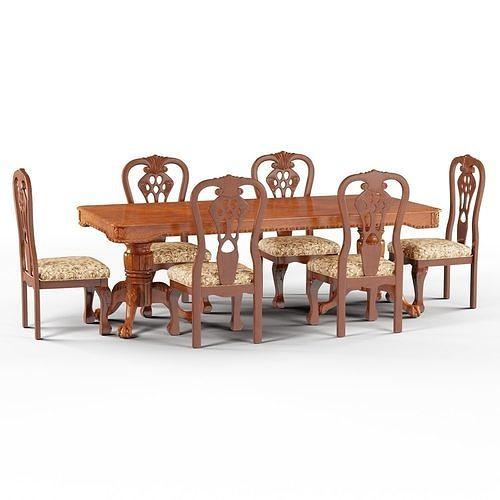 gracewood hollow sita formal cherry brown upholstered dining set 3d model max obj mtl 3ds fbx 1