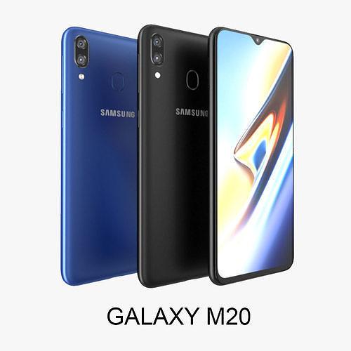 samsung galaxy m20 black - blu 3d model max obj mtl 3ds fbx c4d lwo lw lws 1
