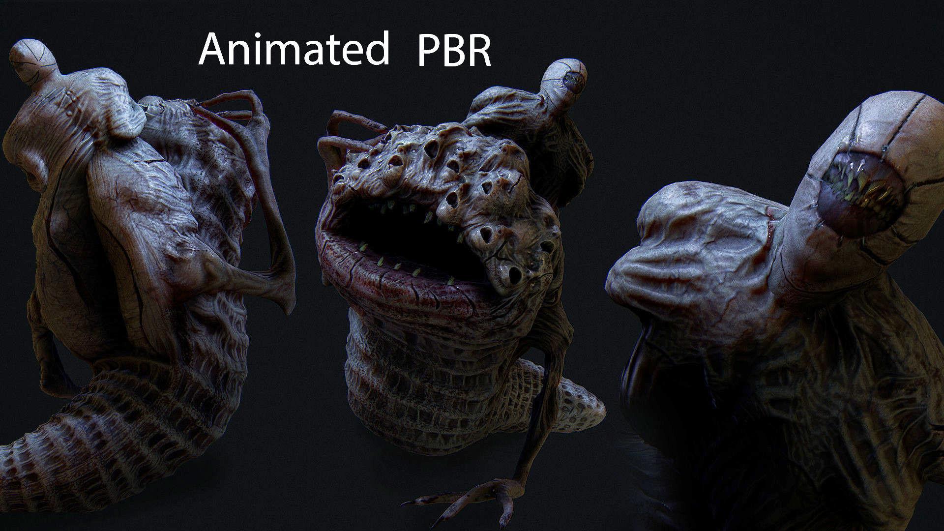 THe leach Horror monster Animated