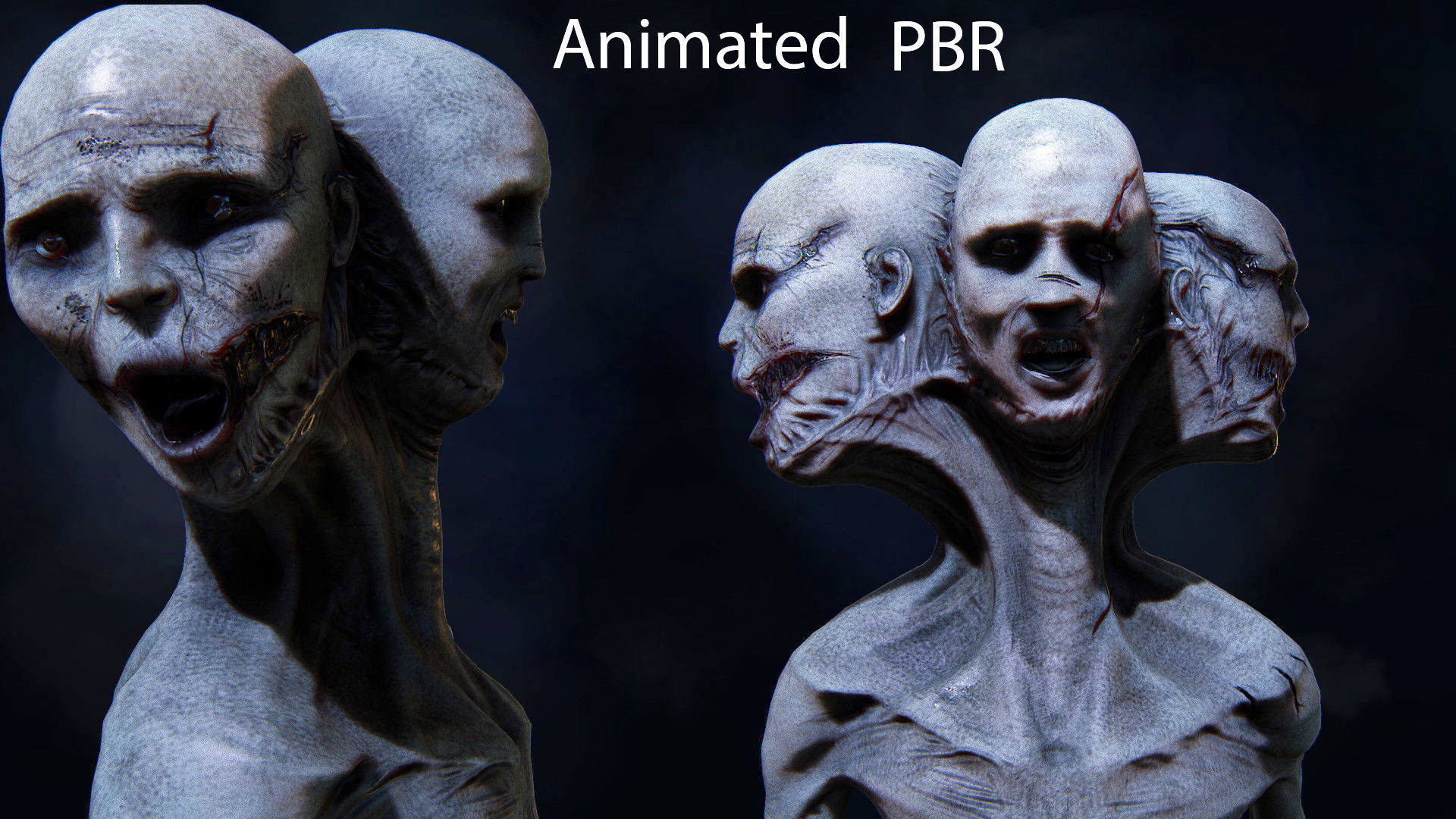 The three faces Monster ANimated Very creepy