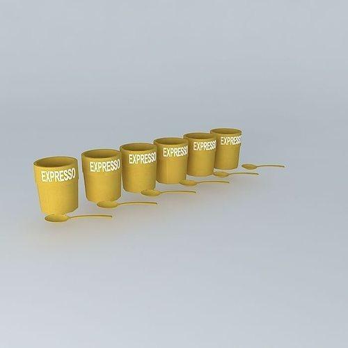 set of 6 cups houses the world 3d model max obj 3ds fbx stl dae 1
