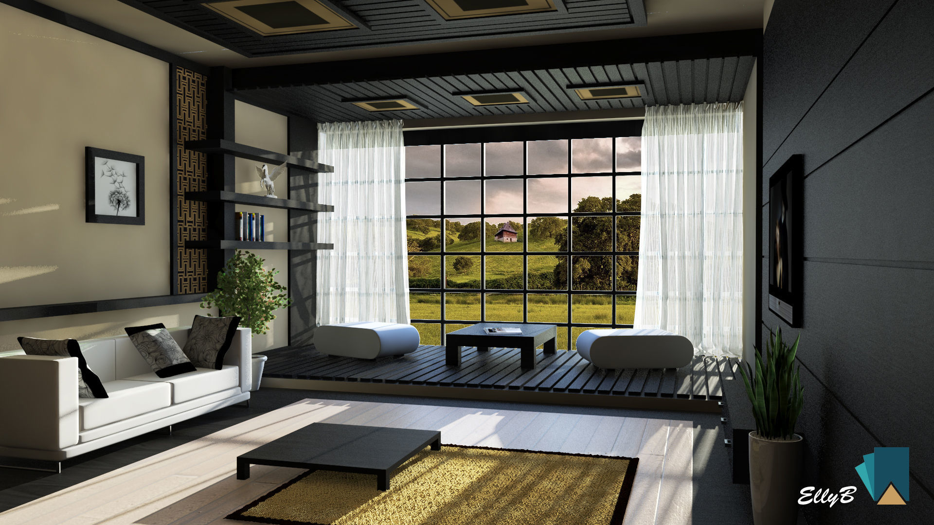 3d japanese style living room cgtrader - Japanese style living room ...