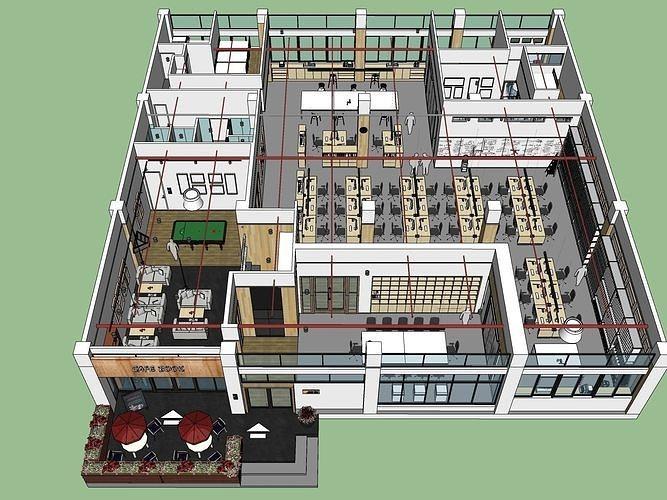 modern minimalist large office space 3d model obj mtl skp 1