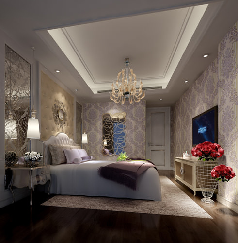 3D Bright luxury bedroom interior