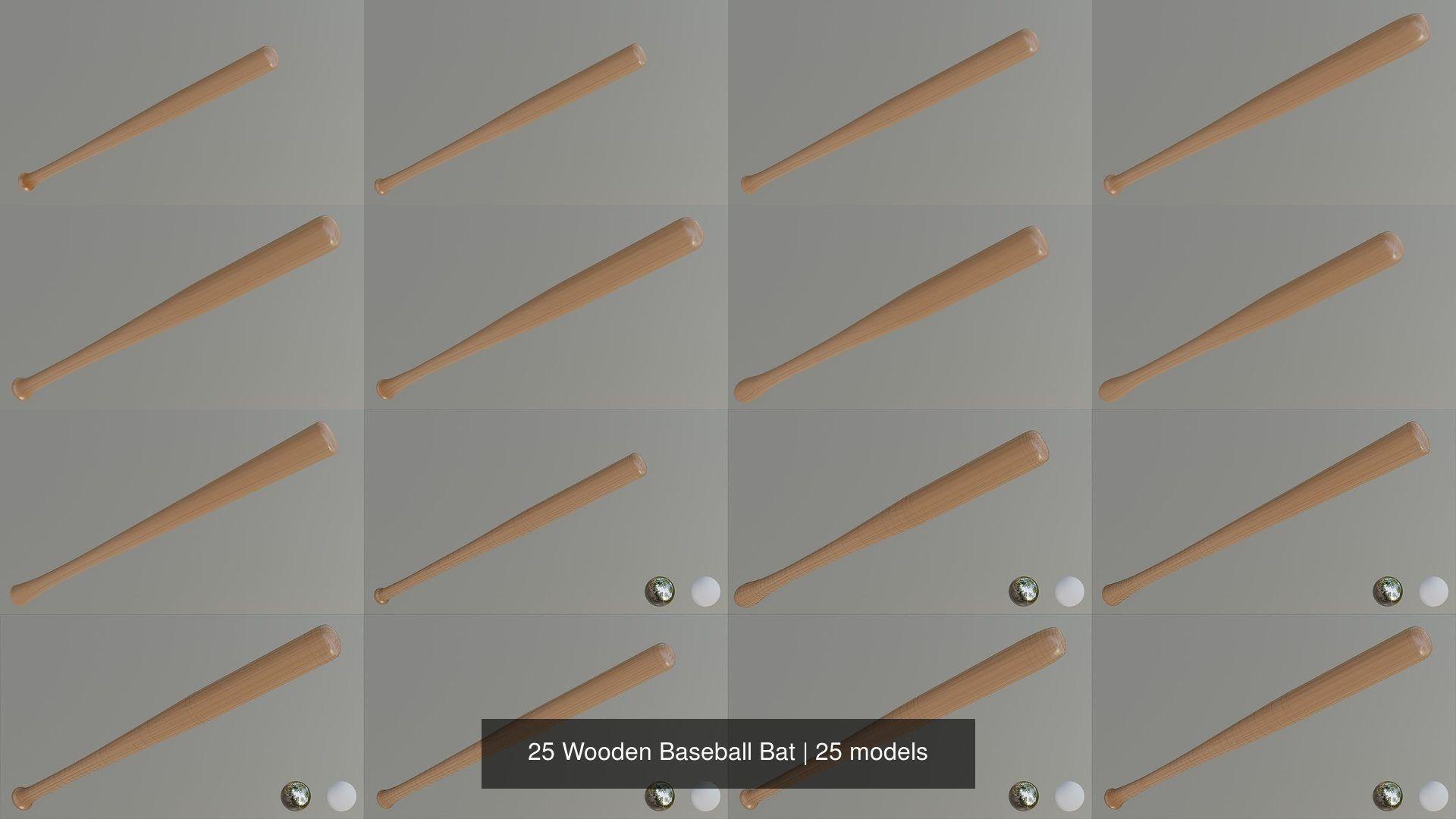25 Wooden Baseball Bat Model Fbx 3