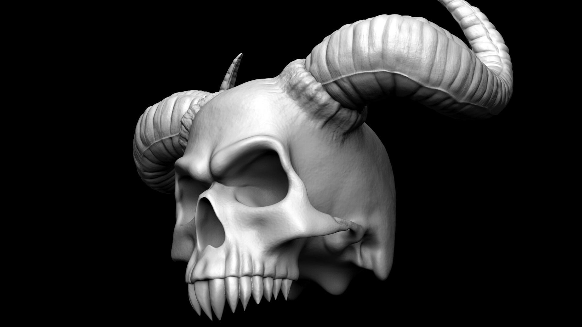 Scull with horns