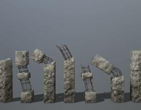 3D model old concrete pole 1