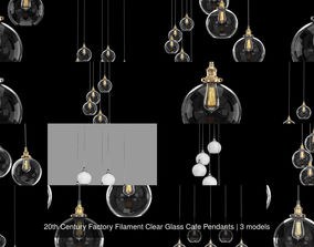 20th Century Factory Filament Clear Glass Cafe Pendants 3D