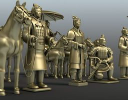 3dmax-myay model of the terracotta army bronze chariots and hors