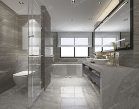 3D Modern luxury marble toilet and bathroom fixture