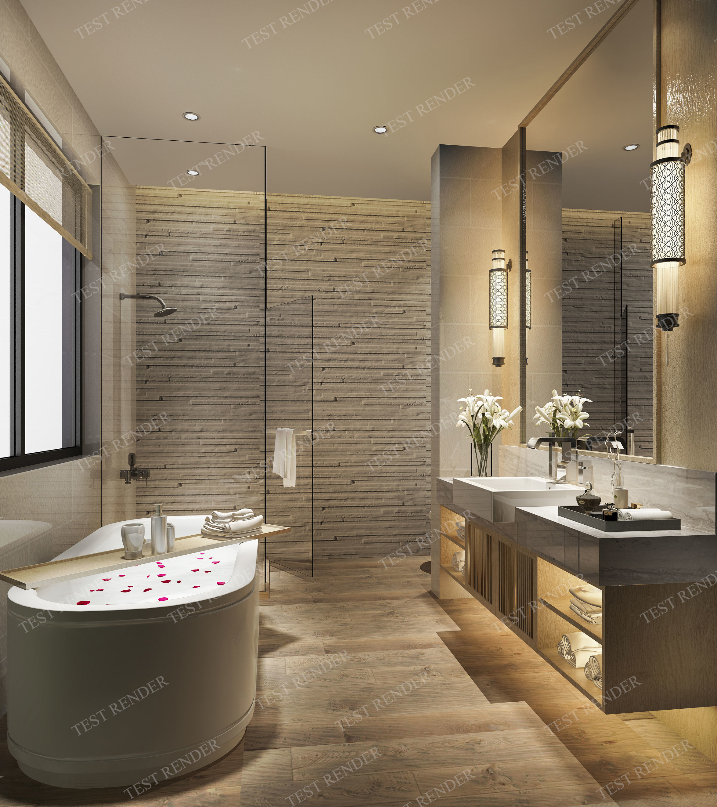 3D Modern luxury marble toilet and bathroom decor
