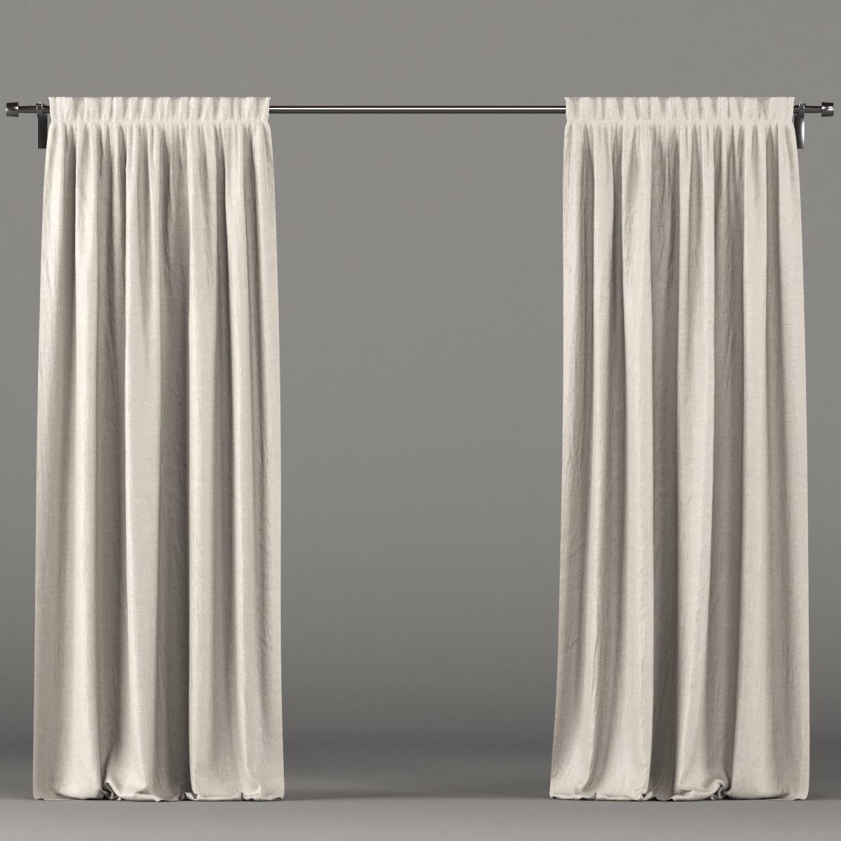 Light Brown Curtains 3d Model