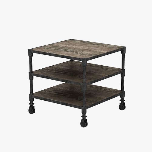 Restoration Hardware Dutch Industrial Side Table 3D Model MAX OBJ MTL 3DS  FBX UNITYPACKAGE PREFAB