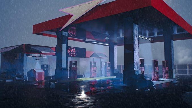 gas filling station   3d model low-poly fbx 1