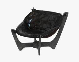 eaton black top grain leather sling chair 3D Model
