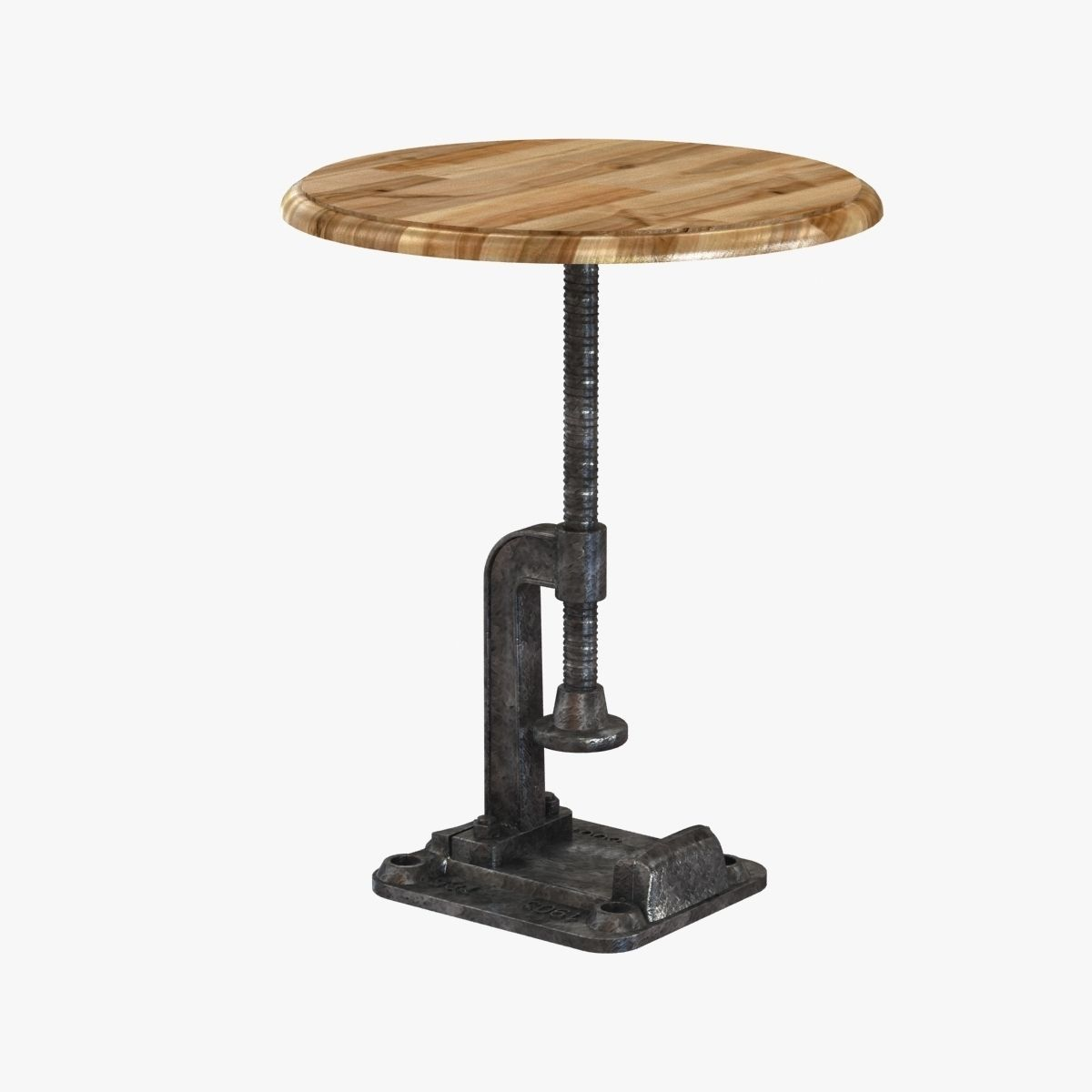 Preferred Reclaimed Wood Rustic Clamp Side Table Stool 3D model MAX OBJ 3DS  HK24