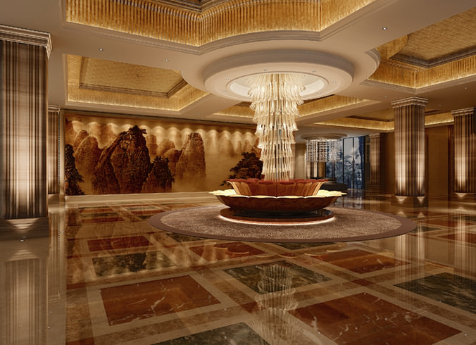 Luxury hotel lobby interior 3d model cgtrader for Luxury hotel interior design