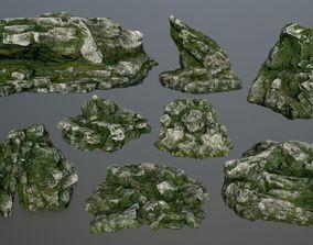 snow gate rocks 3D asset game-ready