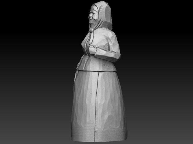 old woman wooden sculpture 3d model obj mtl stl 1