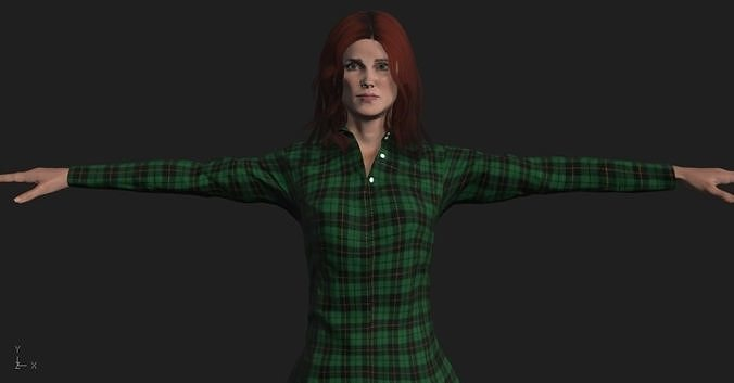 fullbody woman character 3d model obj mtl 3ds fbx stl dae 1